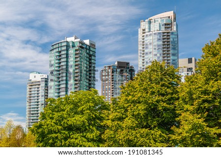 Modern apartment buildings in Downtown Vancouver. - stock photo