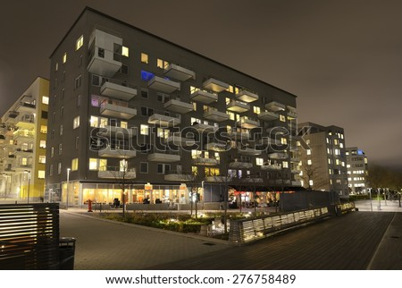 Modern apartment buildings in new neighborhood. - stock photo