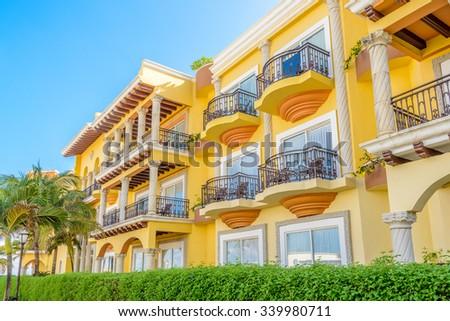 Modern apartment buildings in Playa Del Carmen, Mexico. - stock photo