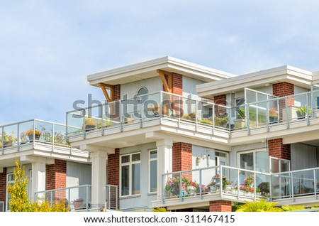 Modern apartment buildings in Richmond, British Columbia, Canada. - stock photo