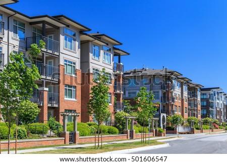 Modern Apartment Buildings Richmond British Columbia Stock Photo ...