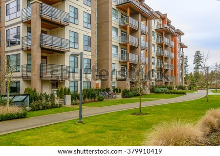 Modern apartment buildings in Vancouver, British Columbia, Canada. - stock photo