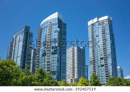 Modern apartment buildings in Vancouver, Canada. - stock photo
