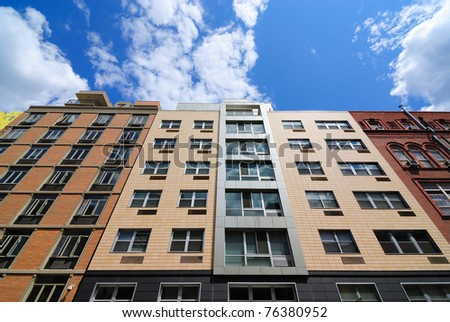 Modern apartment buildings on the Lower East side of Manhattan. - stock photo