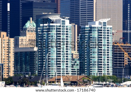 Modern apartment buildings. Picture of modern apartment building on lake-shore of Toronto Downtime. - stock photo