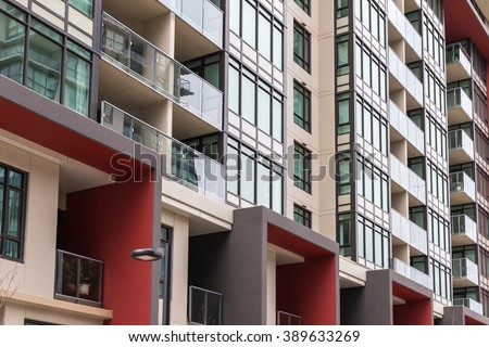 Modern apartment buildings. Vancouver, BC, Canada - stock photo