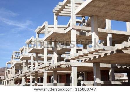 Modern apartment house under construction - stock photo