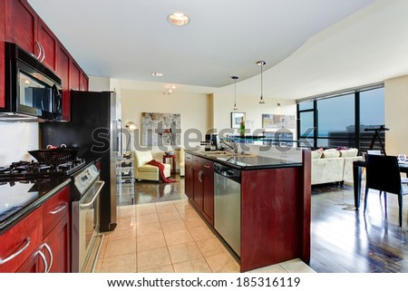 Modern apartment interior. Black and burgundy kitchen, bright living room with glass wall - stock photo