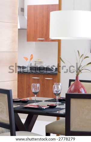 modern apartment interior   dinning room and part of kitchen