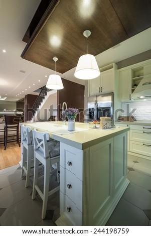 Modern apartment interior, kitchen area - stock photo