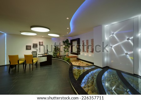 Modern apartment: Interior lighting design - stock photo