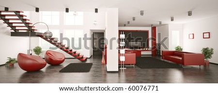 Modern apartment interior panorama 3d render - stock photo
