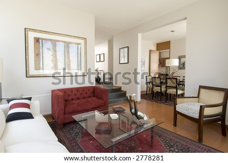 modern apartment interior showing lounge and dinning room - stock photo