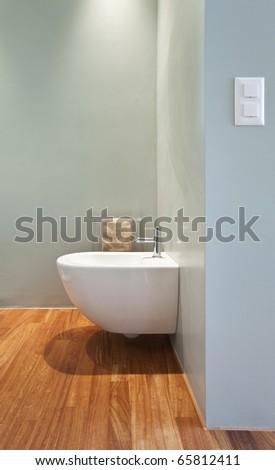 modern apartment interior view, ceramic bidet - stock photo