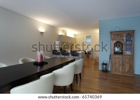 modern apartment interior view, dining table