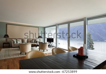 modern apartment interior view, living-room - stock photo
