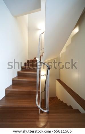 modern apartment interior view, staircase - stock photo