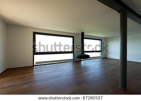 Modern apartment, large room with windows - stock photo