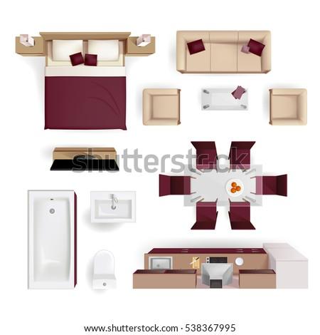 Modern Apartment Living Room Bedroom Bathroom Stock Vector ...