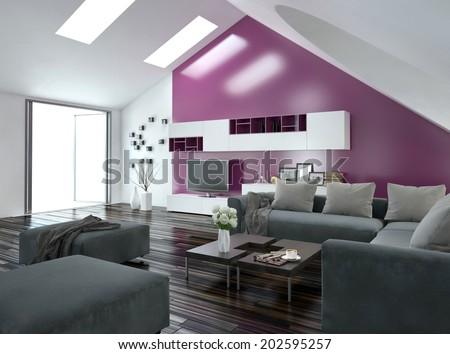 Modern Apartment Living Room Interior With A Purple Accent Wall And Sloping Ceiling Skylights Above