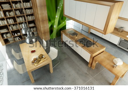 Modern apartment with an open plan kitchen - stock photo