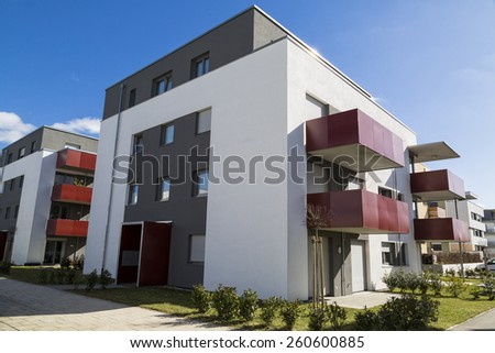 modern apartment with balconies - stock photo