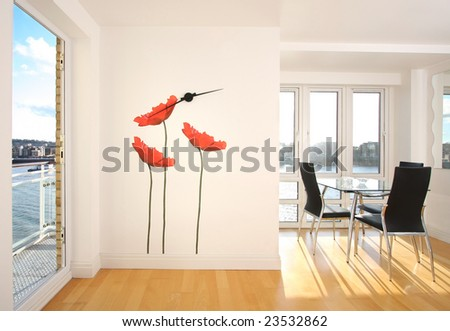 Modern apartment with wall decoration - stock photo
