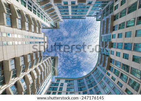Modern Apartments Building in Vauxhall, London - stock photo