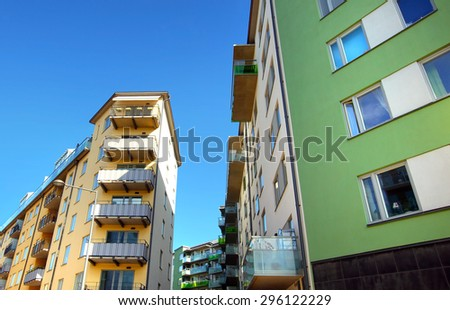 modern apartments with a blue sky - stock photo