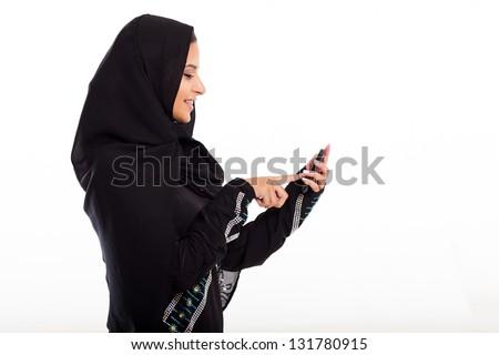 modern arabian girl using smart phone isolated on white - stock photo