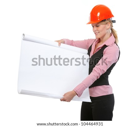 Modern architect woman showing blank flip chart - stock photo
