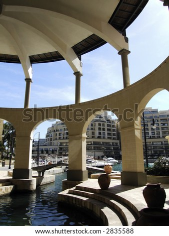 Modern architectural details within a new complex in the Mediterranean island of Malta - stock photo
