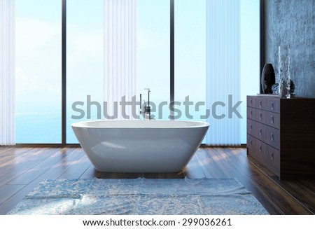 Modern Architectural Interior Design of a Spacious Home Bathroom with White Tub and Large Glass Windows. 3d Rendering. - stock photo