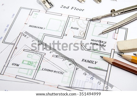 Modern architectural plan with pencil and rules