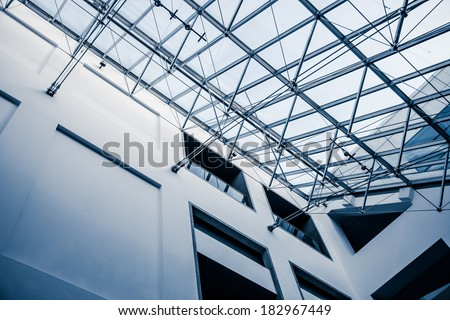 Modern Architectural Skylight Structure from Indoor a Building - stock photo