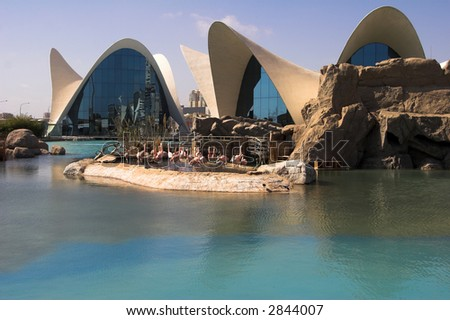 Modern architecture. Aquarium. - stock photo