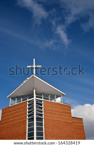 modern architecture church fragment and blue sky