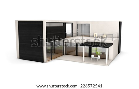 modern architecture concept: modular house construction isolated on white background - stock photo