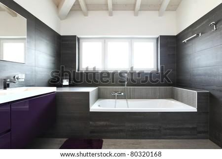 modern architecture contemporary, interior, bathroom - stock photo