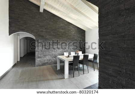 modern architecture contemporary, interior, dining table - stock photo