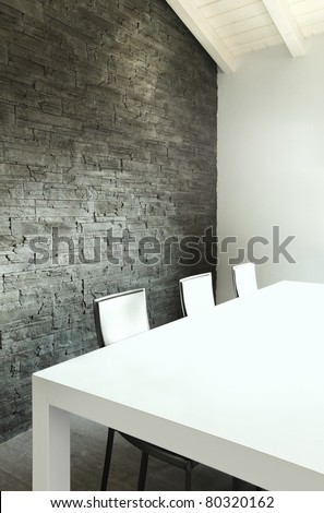 modern architecture contemporary, interior, dining table detail - stock photo