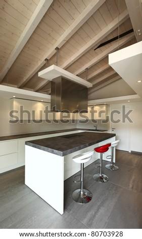 modern architecture contemporary, interior, kitchen view - stock photo