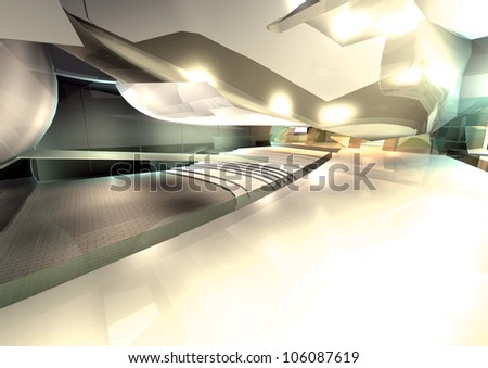 modern architecture 3d render interior of hall - stock photo