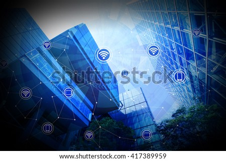 modern architecture exterior and wireless communication network, abstract image visual - stock photo