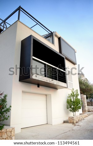 Modern architecture exterior detail, white and clean, Croatia - stock photo
