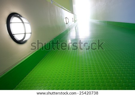 Modern architecture, green way to light - stock photo
