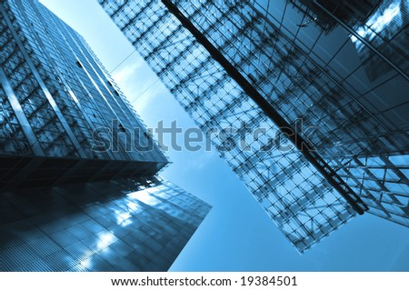 Modern Architecture in blue - stock photo