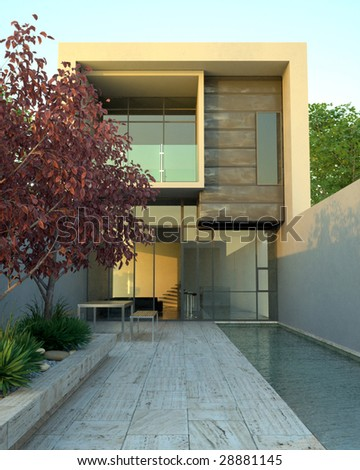 Modern architecture in early evening (3D render) - stock photo