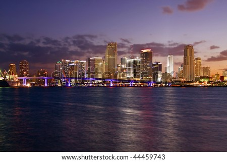 Modern Architecture in Famous travel destination in Miami Beach Florida. Skyscrapers in Downtown at sunset. - stock photo