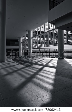 Modern architecture in light and shadow formation - stock photo